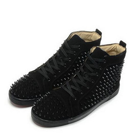 Wholesale Casual Factory - Factory Price! Red Bottom Sneakers for Men with Spikes Black Suede Fashion Casual Mens Shoes ,2017 Women Leisure trainer footwear Casual