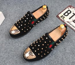 Wholesale Spikes Head - Promotion New Fashion Mens luxury brand Punk Studded Rivet Spike Suede Round head Loafers red black Casual Dress Shoes free shipping 310