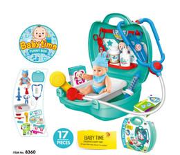 cachorros de brinquedo de plástico para crianças Desconto Simulação crianças Enfermeira Do Bebê aparador de utensílios de mesa caixa registradora ferramenta de médico conjunto de brinquedo mala de Natal Presentes para as crianças