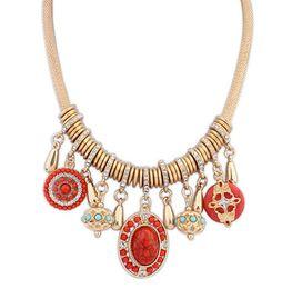 Wholesale Red Crystal Bib Necklace - Korea New Fashion Elegant Pearl Crystal Pearl Flower Bib Choker Necklace