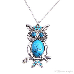 Wholesale Owl Pendant Jewellery - New Women Vintage Turquoise Rhinestone OWL Pendant Long Chain Necklace Jewellery H210972