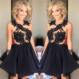 Wholesale Sexy Cocktail Party Dress Stone - 2016 New Black Lace Mini Backless Homecoming Dresses Beaded Stones Top Short Party Cocktail Prom Dresses
