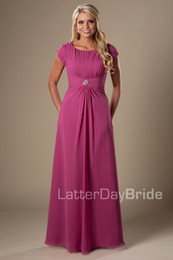 Wholesale Blue Magenta Dress - Magenta Chiffon Long Modest Bridesmaid Dresses With Cap Sleeves A-line Ruched Floor Length Maids of Honor Wedding Party Gowns Cheap