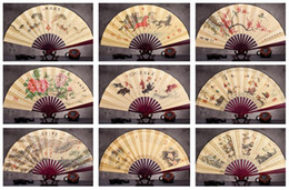 Wholesale Wholesale Customized Wedding Fans - Free shipping Classic 10 - inch silk cloth bamboo fan boutique gift fan can be customized LOGO ZS004 mix order as your needs