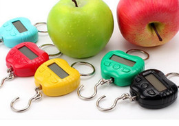 Wholesale Scale Oz Kg - by dhl fedex 50 pcs  lot Apple hook scale Portable Mini Electronic Digital Hook Hanging Weighing portable Scales KG   OZ   Ib   jin