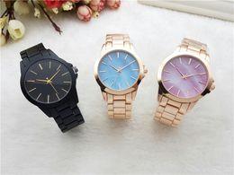 Wholesale japan movement wrist watch steel - 2018 brand M wrist watch Japan Gold Movement M Classic Metal Watch+ Gift available men women gold stainless steel brand fashion watch