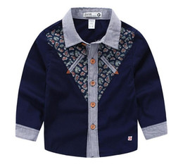 Wholesale Handsome T Shirt - 2016 boys clothing new Handsome boy paisley shirts middle Gentle baby t shirt kids clothing Children clothes