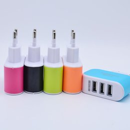 Wholesale I Phone Wall - 3 USB Plug Chargers 5V 3.1A LED Adapter Travel Convenient Power Adaptor Triple Wall Charger For Mobile Phone I 5 6
