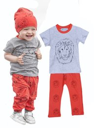 Wholesale Head Brand Baby - Retail INS Baby Boy Clothing Set Brand Lion Head Short Sleeve T-shirt+Red Animal Pants Girl 2pcs Set High Quality Summer Style Kids Clothes