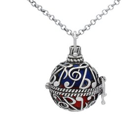 "Wholesale Musical Lockets Wholesale - Lots Wholesale Antique Silver Musical Note Hollow Cage Locket Fragrance Essential Oil Diffuser Pendant 30"" Chain Neckalce Charms Jewlery"