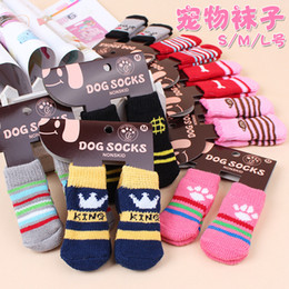 Wholesale Clothing For Dogs - Hot pet dog cat warm socks for winter Cute Puppy Dogs Soft Cotton Anti-slip Knit Weave Sock Skid Bottom Dog cat Socks Clothes 4pcs set