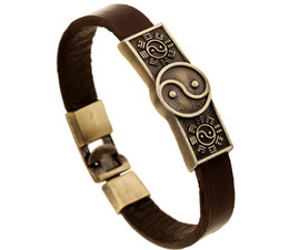 couro de chi Desconto Vento nacional de moda! 100% pulseira de couro menino / homem Retro liga Tai Chi Ba Yin Yin e Yang pulseira de couro 12 pçs / lote transporte da gota