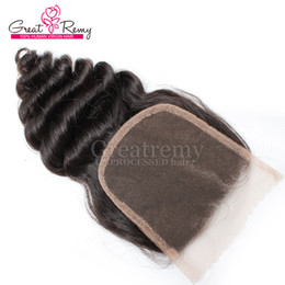 Wholesale Hairpieces For Black Women - Malaysian Unprocessed Human Hair Loose Wave Lace Closure Middle part 4*4 Hairpieces Natural Color Dyeable greatremy hair For Black Women