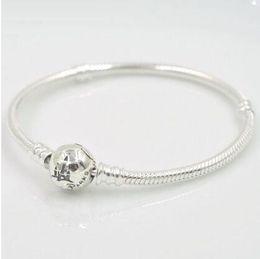 Wholesale Pandora Snake - 100% real 925 sterling silver snake chain bracelet with pandora logo engraved castle bracelet for women wedding bracelet