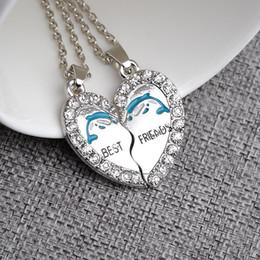 Wholesale Statement Necklace Parts - 2016 Statement Necklace Best Friends Series Broken Heart 2 Part Alloys Pendant Necklaces Zelda Wholesale For Friends Gifts