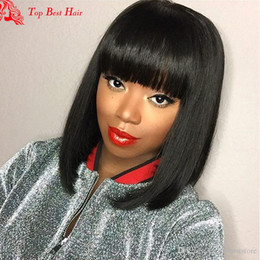 Wholesale Indian Hair Bangs - Human Hair Fringe Bang Wigs Bob Glueless Full Lace Front Human Hair Brazillian Wig Cheap Short Wigs Human Wigs For Black Women