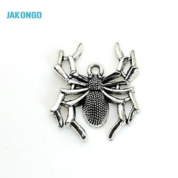 Wholesale craft plates - 8pcs Tibetan Silver Plated Spider Charms Pendants for Bracelet Jewelry Making DIY Handmade Craft 40x25mm