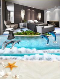 Carreaux de sol en vinyle en Ligne-Personnalisé 3d plancher Ocean World 3d stéréoscopique papier peint carrelage salle de bain étanche vinyle papier peint plancher