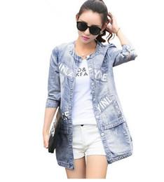 Wholesale Korean Jeans Jacket Women - 2016 New Spring Autumn Denim Jacket Women Korean Fashion Medium Long Jeans Jacket Coat Female Autumn camperas mujer abrigo