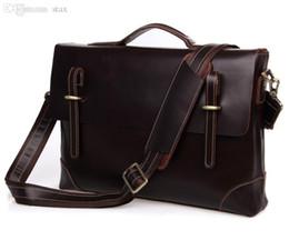 Wholesale Men Portfolio Shoulder Bag - Wholesale-Quality Real Genuine Leather Men Messenger Bags Cow Leather Business Portfolios Briefcase Men Travel Bags Shoulder Bag #VP-J7228