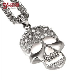 Wholesale Skull Head Sweater - 2016 New Fashion Bling Bling Vintage Real 18k Plated Gold Crystal Skull Head Necklace Collar Sweater Men Women Hip Hop Rock Music Jewelry