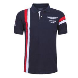 Wholesale Aston Red - 2016 Summer Hot In Spain Fashion Sport Polo Shirt Men ASTON MARTIN RACING 100% Cotton Polos Shirts free shipping