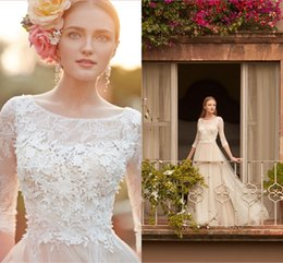 Wholesale Long Elegant Floral Dresses - Elegant Romantic Castle Wedding Dresses 2016 Crew 3 4 Long Sleeve with Lace Appliques Floral A Line Tulle Bohemian Bridal Gowns Custom Made