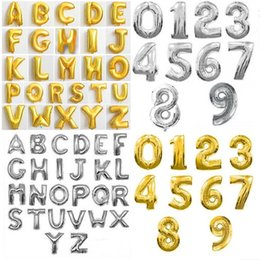 Wholesale Letters Balloons Free Shipping - Free shipping Hot sale Party decoration Number Alphabet Letter foil balloons 16inch aluminum balloon Cute Silver Gold Balloons