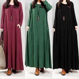 Wholesale Wholesale Linen Clothing Women - Maxi Dresses Plus Size Baggy Dresses Women Summer Fashion Dress Loose Casual Dress Cotton Linen Long Sleeve Dresses Women's Clothing B2661
