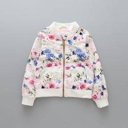 Wholesale Wholesale Kids Baseball Jackets - New Cute Girls Floral Windcoat Coats Children Clothing Long Sleeve Flower Baseball Uniform Girl's Outwear Flower Coat Kids Jackets A7455