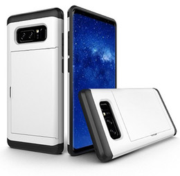 Wholesale S4 Holder Card Id - For Samsung S4 S5 S8 S8 Plus Case Sliding Card Holder ID Slot Dual Layer Protective Hard Shell Soft TPU Rugged Bumper Tough Case