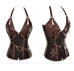 Wholesale leather corsets for women - Wholesale-Plus size Women's Brown Fashion Halter PU Chained Leather Splicing with belt Corset sexy club wear for women leather clothing