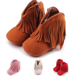 Wholesale Red Fringe - Baby First Walkers kids girl boy faux suede boots toddler fringe tassel winter warm boots shoes mid-calf 0-12M 6colors infant Christmas gift