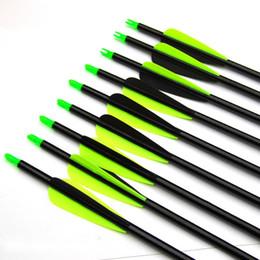 Arco de fibra de vidro recurvo on-line-Setas de fibra de vidro com pontas substituíveis de pontos de campo para arco recurvo e flechas de arco composto de caça usadas