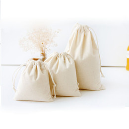 Wholesale Small Cotton Drawstring Pouches - 250pcs Drawstring Cotton Fabric Jewelry Bag For Christmas Gift Coffee Bean Necklace Packaging Pouch Small Storage Bag ZA0741