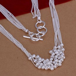 Wholesale Wholesale 925 Beaded Ball Necklace - Six-lane Sandy Chain Link Beads Necklaces 18 inch Ball 925 Silver Collar Necklace Wedding Jewelry For Women Gift Freeshipping