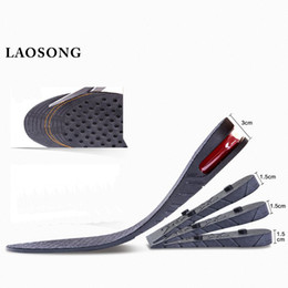 Wholesale heel lifts - LAOSONG Air Cushion Height Increased Insoles For Men Women 1-4 Layers Stealth Adjustable Shoes Insoles Black Lift Pads Heel