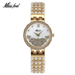 Wholesale Ladies Water Proof - Fashion Generous Crystal Ladies Dress Watches Exquisite Pearl Jewelry Bracelet Relojes Mujer Water Proof Pam Watches