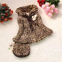 Wholesale Long Fur Collar Coat - Baby girls coat girls winter fur coat new Girl leopard kids jacket children outerwear with handbag