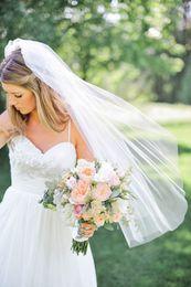 Wholesale White Embroidered Flower Appliques - 2016NewTop Quality Best Sale For Wedding Dresses Fashion Designer White Ivory Fingertipe Cut Edge Veil Mantilla veil Bridal Head Pieces
