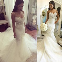 Wholesale Delicate Mermaid - 2017 Mermaid Wedding Dresses Spaghettis Straps Delicate Lace with Beading Appliques Bridal Gowns Tulle Skirt Charming Bridal Gowns BA3256