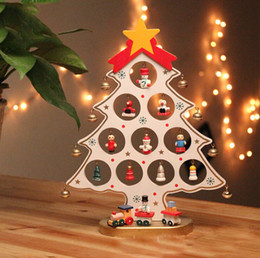 Wholesale Wholesale Wooden Tables - 1PC DIY Cartoon Wooden Christmas Tree Decoration Christmas Gift Ornament Table Desk Decoration 3 Colors Red White Green 0708063
