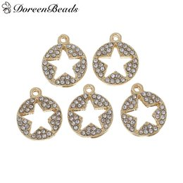 "Wholesale Silver Jewelry Pentagram Rhinestone - Charms Round Gold Plated Pentagram Star Hollow Carved Clear Rhinestone 15mm(5 8"")x 13mm(4 8""), 5 PCs 2016 new Free shipping jewelry making"
