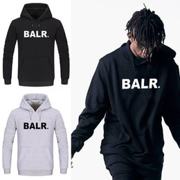 Wholesale Hat Male - 2018 summer New Fashion Men hoodie BALR letter Printed Hoodies with Hat Hip Hop Man Hooded Sweatshirts Casual Pullover male coat,tx5992