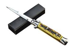 Wholesale Open Mirrors - Camping Knife AKC Italian Stiletto Knife Classic Style Side Open Mirror 440 Steel Blade Plain Utility Outdoor Gear Knife F501L