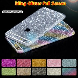 Wholesale Iphone Glitter Sticker Skins - Full Body Sticker Bling Skin Cover Glitter Diamond Front Sides and Back Screen Protector For iphone 6 plus 5S 4S 5c samsung note4 5 s6 s7
