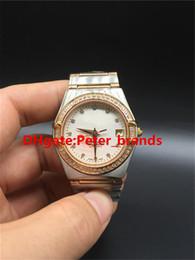 Relojes de mujer correa blanca online-Caja de diamantes de lujo de oro rosa completo. Relojes de moda de señora movimiento mecánico automático correa de acero staintless esfera blanca reloj de mujer.