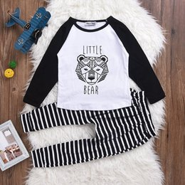Wholesale Haroun Pants - INS Kids Suits Children Clothing Baby Boys Girls Clothing Sets Fashion Cartoon Little Bear T shirts + Stripe Haroun Pants 2pcs lot