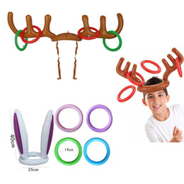Wholesale Reindeer Antlers Hat - Newest Inflatable Reindeer&Bunny Ear Antler Ring Hats Toss Holiday Party Game Supply Toys Christmas Gifts for Children Kids