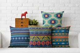 Wholesale Aztec Pillows - Free shipping Aztec Bohemia Oriental style geometric triangles waves dots circles pattern cushion cover home decorative throw pillow Case